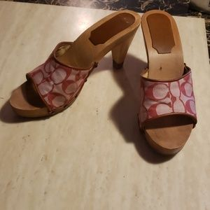 Coach pink wooden heels